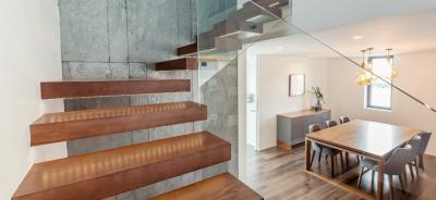 floating staircase with glass balustrades