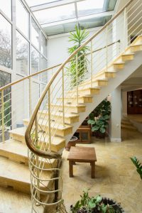 staircase with plants