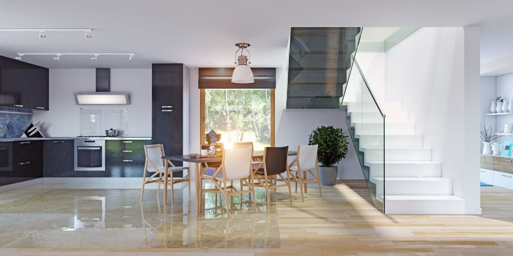 Open Plan Kitchen with Staircase